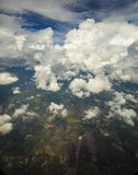 Aerial view of cloudscape over agriculture field in rural area stock photo