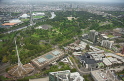 Aerial View of Cloudy Melbourne CBD City Australia Stock Image