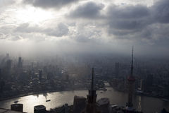 Aerial view of cloudy shanghai Royalty Free Stock Photography