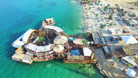 Aerial view of club stage on sea water, zrce beach on island of Pag. Croatia stock video