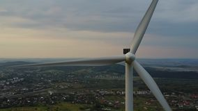 Aerial view of cluster of wind turbines in the mountains of the Carpathians.  stock video footage