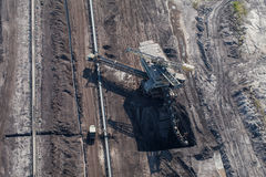 Aerial view of coal mine Stock Photos