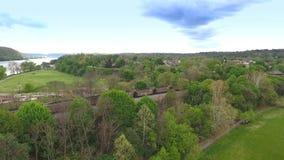 Aerial View Coal Train in Western Pennsylvania stock video