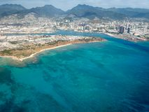 Aerial view of mountains, city, and ocean at Honolulu, Hawaii stock images