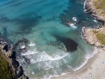 Aerial view of the coast of Corsica, beach and coves with crystalline sea. France Stock Photography