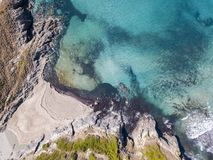 Aerial view of the coast of Corsica, beach and coves with crystalline sea. France Stock Image