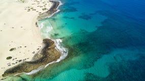 Aerial view of coast, glas beach, fuerteventura Royalty Free Stock Images