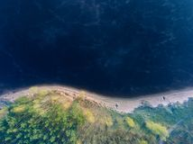 Aerial view on a coast of a lake Stock Photography