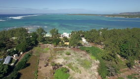 Aerial view of coast on Mauritius Island stock video