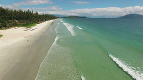 Aerial view of the coast of South China Sea. Flight over the South China Sea in Vietnam, Doclet Beach stock footage