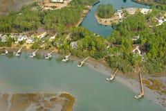 Aerial view of coastal community stock photo