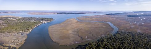 Aerial view of coastal forest, islands, and marsh in South Carol stock photography