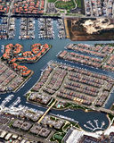 Aerial View of Coastal Houses. Houses and Condominium with piers and docks sit on canals and beaches in california Stock Images