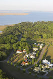 Aerial view of coastal neighborhood Royalty Free Stock Photos