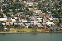 Aerial view of coastal town Stock Photo