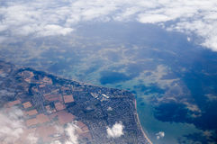 Aerial view of Coastal Town Stock Photography