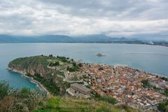 Aerial view of a coastal town. Stock Images
