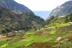 Aerial view of coastal village at Atlantic Ocean and gardens Stock Image