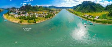 Aerial view of coastal waterway