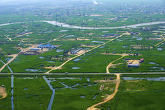 Aerial view of coastal wetlands Stock Image