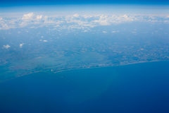 Aerial view of coastline royalty free stock photo