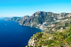 Aerial view of coastline Amalfi, Sorrento peninsula with seaview royalty free stock images