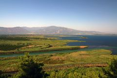 Aerial view of coastline in Dalyan, Turkey Royalty Free Stock Photo
