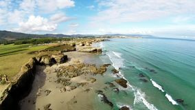 Aerial view of coastline of Galicia - Beautiful beach in the north of Spain stock video