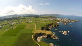 Aerial view of coastline of Galicia - Beautiful beach in the north of Spain stock video footage