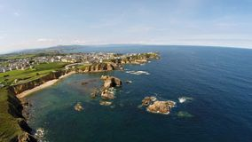 Aerial view of coastline of Galicia - Beautiful beach in the north of Spain stock footage