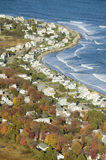 Aerial view of coastline of homes in Ogunquit, Maine Stock Photo