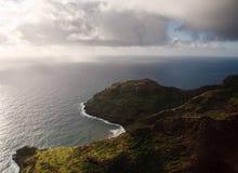 Aerial view of the coastline of Kauai. View of rocky headlands on coast of Kauai near Na Pali stock image