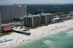 An aerial view of the coastline of Panama City Beach, Florida along the Gulf of Mexico Stock Image