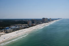 An aerial view of the coastline of Panama City Beach Florida laong the emerald green waters of the Gulf of Mexico. An aerial view of the coastline of Panama City Stock Photography