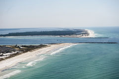 An aerial view of the coastline of Panama City Beach Florida at St. Andrews Bay. An aerial view of the coastline of Panama City Beach Florida at Shell Island Royalty Free Stock Photos