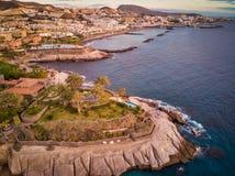 Aerial view of Tenerife coast. Aerial view of a coastline. Sea, beaches, rocks stock photos