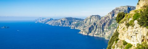 Aerial view of coastline Sorrento city with seaview, Italy stock photos