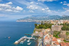 Aerial view of coastline Sorrento and Gulf of Naples, Italy. Aerial view of coastline Sorrento and Gulf of Naples - popular tourist destination in Italy. Sunny Stock Photos