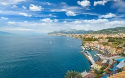 Aerial view of coastline Sorrento and Gulf of Naples, Italy. Aerial view of coastline Sorrento and Gulf of Naples - popular tourist destination in Italy. Sunny Royalty Free Stock Images