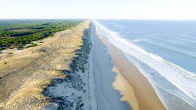 Aerial view of coasts in Atlantic Gironde. In France royalty free stock photo