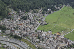 Aerial view of Cogne, small town in Aosta Valley, Italy. autumn Royalty Free Stock Photo