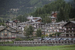 Aerial view of Cogne, small town in Aosta Valley, Italy. autumn Stock Image
