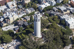 Aerial View of Coit Tower Park San Francisco Stock Photos