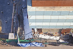 Aerial view collapsed section of new building Royalty Free Stock Image