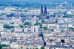Aerial view Cologne with Cologne Cathedral stock images