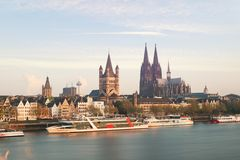 Aerial view Cologne over the Rhine River with cruise ship in mor royalty free stock photos