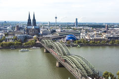 Aerial view Cologne. View over River Rhine and Hohenzollern Bridge, Cologen Cathedral, Station and Museum Ludwig stock photos