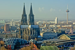 Aerial view of Cologne stock images