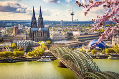 Aerial view of Cologne at spring Royalty Free Stock Image