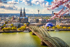 Aerial view of Cologne at spring Stock Photos